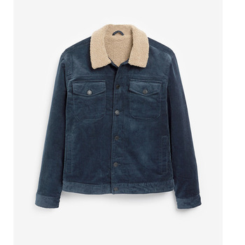 KIOVNO Men's Corduroy Jackets And Coats With Fur Collar Fleece Lined Jackets Outwear For Male Size S-XL Windbreak