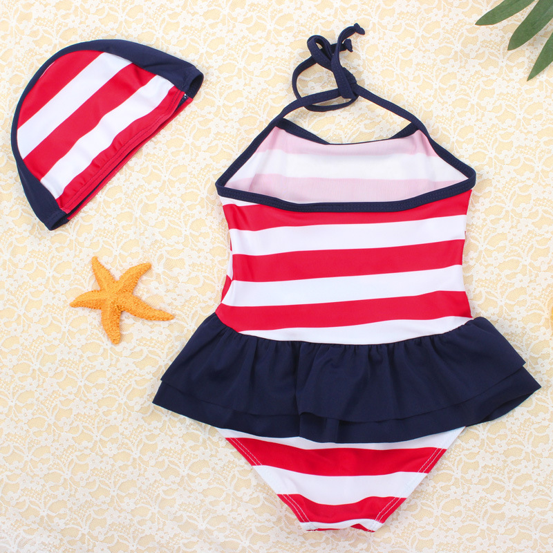 South Korea KID'S Swimwear GIRL'S One-piece Small CHILDREN'S Infants Baby Cute Girls Korean-style Princess Tour Bathing Suit Inf