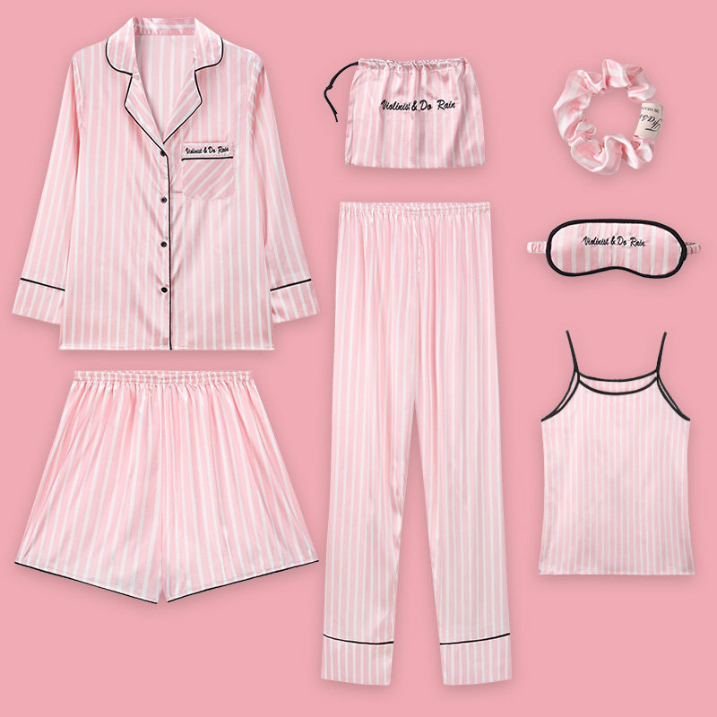 Strawberry 7PCS Pajamas Female Spring Summer Simulation Silk Nightwear Long-Sleeved Korean Freshing Students Home Service Suit