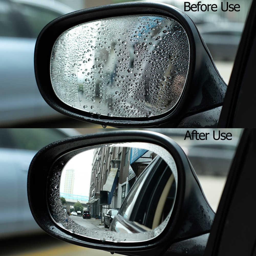 Araba ayna pencere şeffaf Film Anti sis araba dikiz aynası koruyucu Film su geçirmez araba Sticker 2 adet/takım