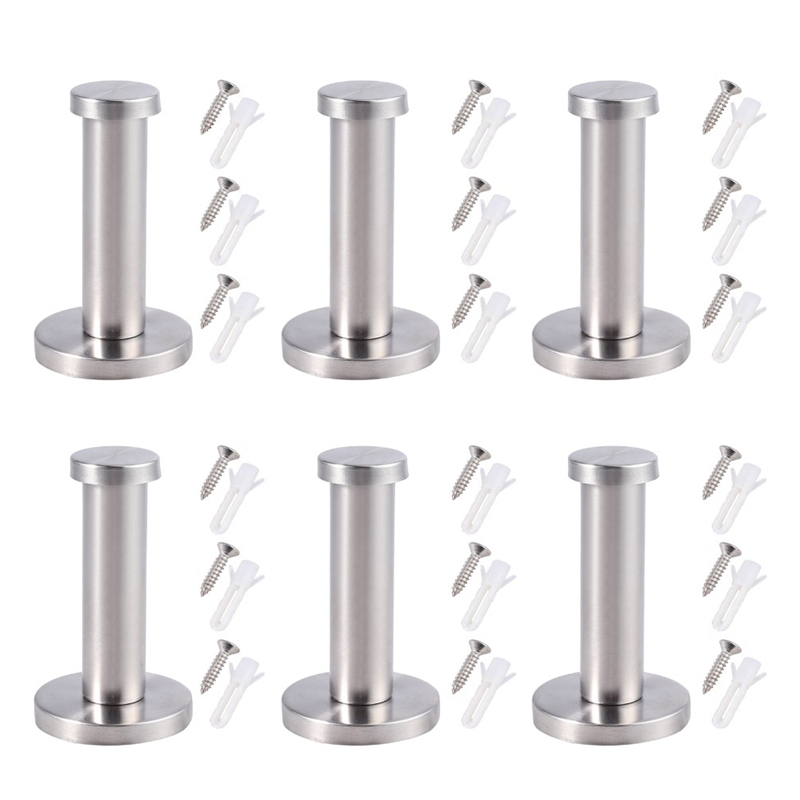 6 PCS For Stainless Steel Wall-Mount Towel Hook Coat Hanger For Bathroom Hanger For Heated TOWEL Bath Hook