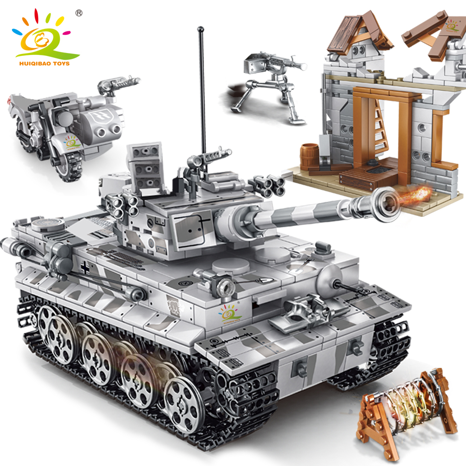 812pcs Military Tank Model Building Blocks with WW2 Soldier Figures Toys Bricks