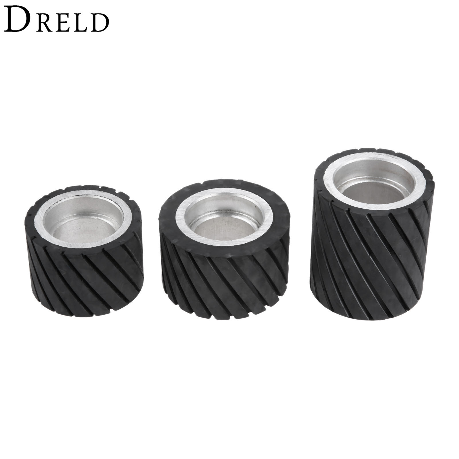 DRELD 70*50mm 80*50mm 70*80mm Belt Grinder Rubber Contact Wheel Abrasive Sanding Belt Set Polishing Grinding Sanding Wheel