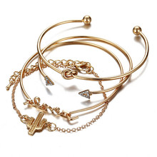 4pcs/set Gold Color Cactus Letter Knot Bracelet Bohemian Geometric Metal Chain  Bangle Statement Jewelry