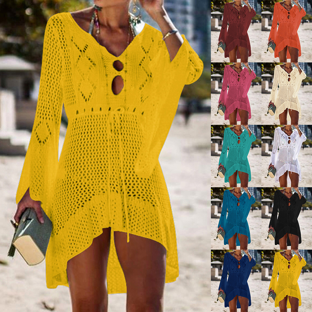 2020 Sexy Crochet Knitted Beach Cover Up Tassel Tie Beachwear Tunic Long Pareos Summer Swimsuit See-through Beach Dress Bikini