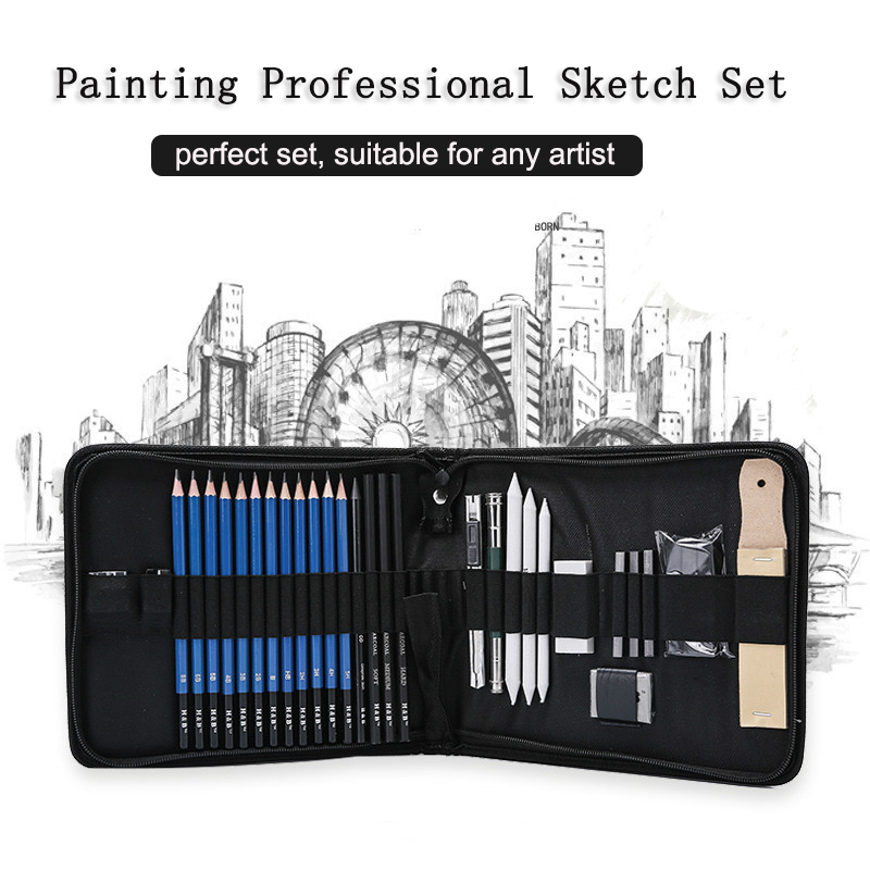 Professional Art Set 32 PCS Drawing And Sketching Set Drawing Sketching Charcoal Pencils. Kneaded Eraser. Art Kit For Kids Teens