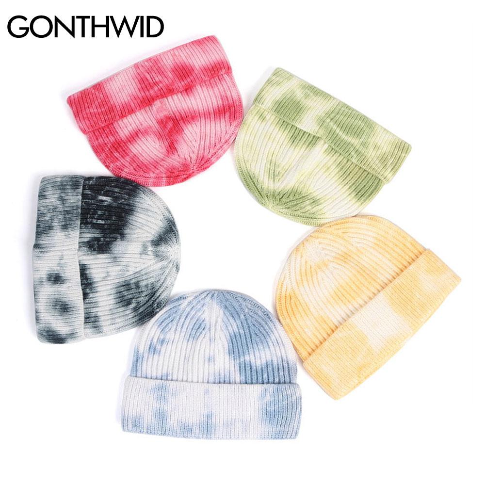 GONTHWID Knitted Tie Dye Beanies Hats Plain Cuff Beanie Knit Ski Cap Casual Skull Warm Solid Color Winter Blank Headwear Bonnets