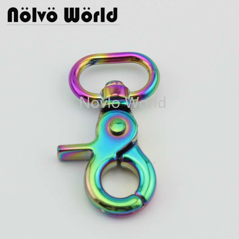 Wholesale 500pcs, 53*20mm 3/4 Inch, Rainbow High Quality Metal Buckle Thick Snap Hook For Keychain Handbag Hardware Accessories