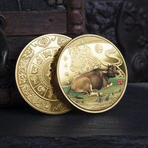 Ювелирная Золотая монета 2021 года Ox, сувенирная монета с китайским знаком зодиака, подарок на Новый год