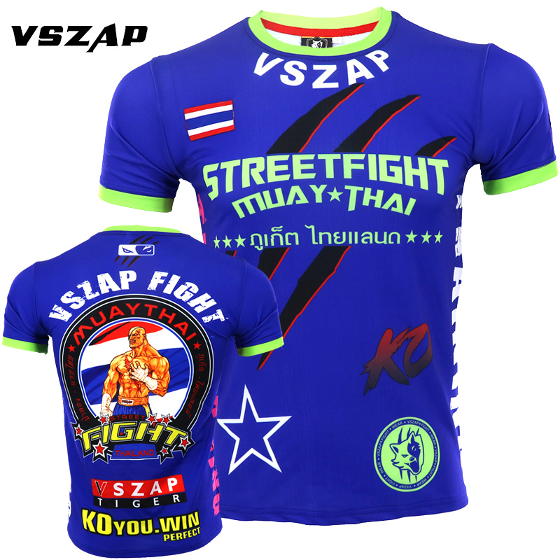 VSZAP Thai Boxing  Training T-shirt Men MMA Fight Fighting Free Combat Men For Sports Running Short Sleeve