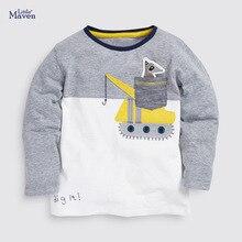 Tshirts Little Maven Kids Tee-Tops Spring Full-Sleeved Boys Cotton Autumn O-Neck Crane