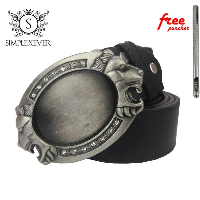 Luxury Lion Belt Buckle With Diamond Silver Men's Belt Buckles Suit For 3.8-4cm Width Belt