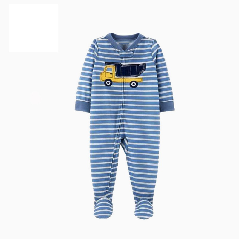 Комбинезон для маленьких девочек с рисунком единорога; зимняя одежда для новорожденных мальчиков с длинными рукавами; 0-12 месяцев; с круглым вырезом; на молнии; - Цвет: 7