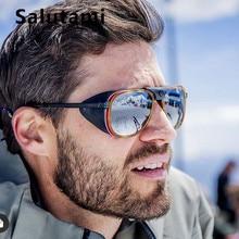 PU skórzane ramki punkowe okulary przeciwsłoneczne dla mężczyzn 2020 luksusowych marek czarne Steampunk okrągłe okulary kobiety klasyczny nit przycisk okulary