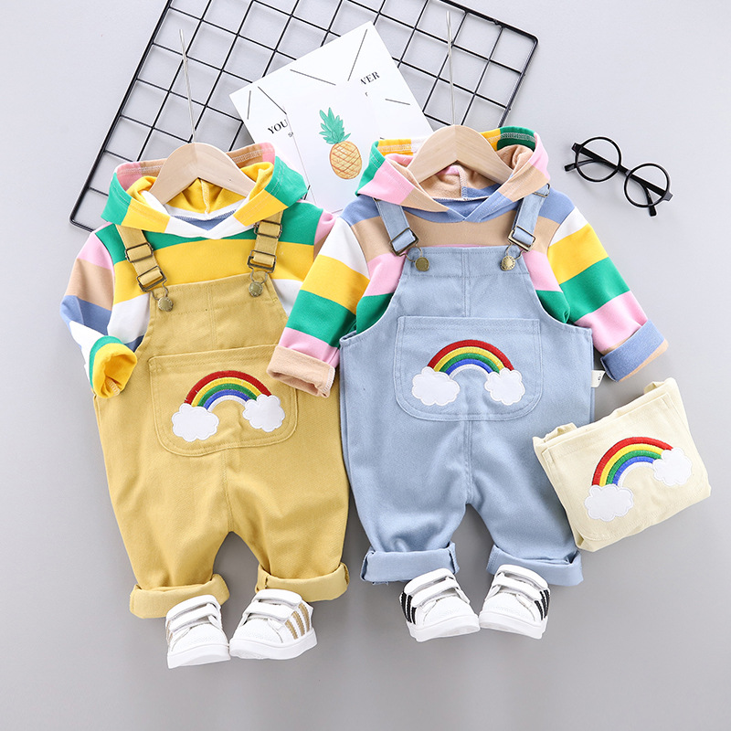 New Overalls Baby Boy Clothes Baby Girl Long Sleeve Striped Hooded Sweater Cartoon Rainbow Printed Cotton Baby Two-piece Suit