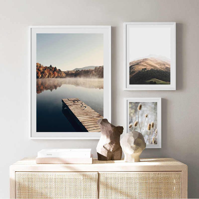안개 가을 숲 호수 캔버스 회화 스칸디나비아 포스터 자연 풍경 인쇄 노르딕 스타일 벽 아트 그림 홈 인테리어