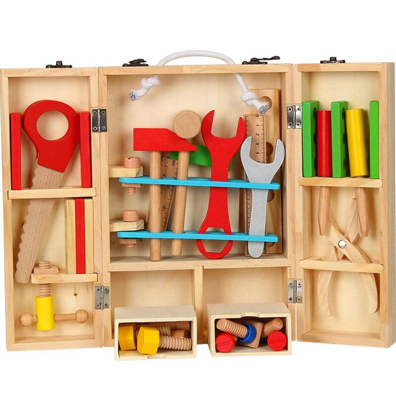 Boîte de réparation d'outils pour enfants jouets éducatifs simulation démontage boîte à bois écrou à vis en bois garçon jouer maison jouet