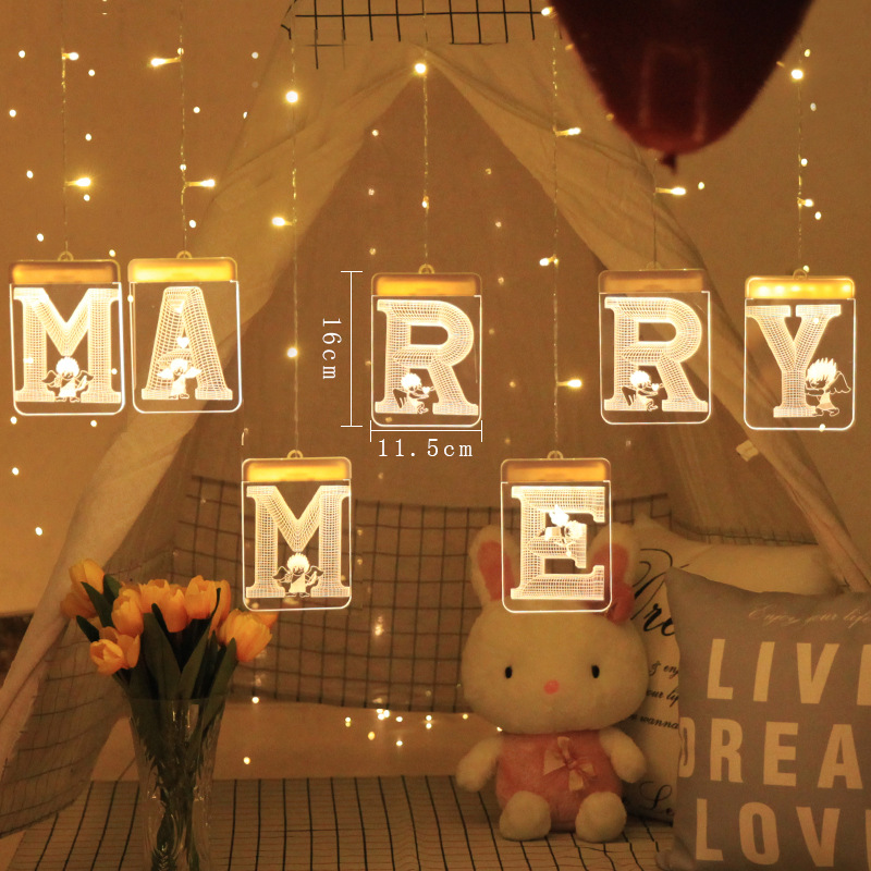 3D Luminous USB Interface Night Lamp LED Hanging Lighting String Party Decor Propose 'Marry Me' Love' Christmas Birthday Gift