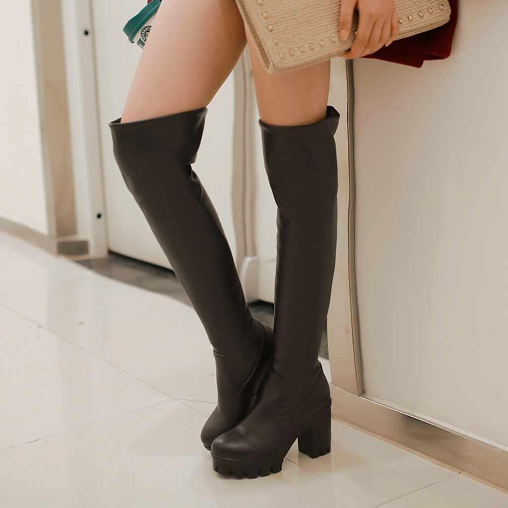 ฤดูหนาวผู้หญิงต้นขาสูงบู๊ทส์สั้น Plush WARM Over-the-เข่ารองเท้าเซ็กซี่รองเท้าส้นสูงสีดำ BOOT แพลตฟอร์มรองเท้า PLUS ขนาด 2019