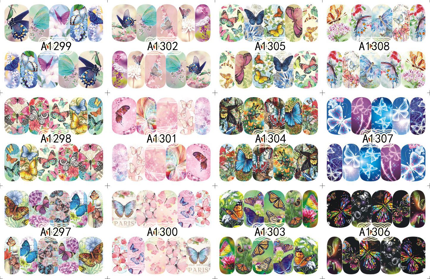 YZW12-in-One 2017 New Style Water Transfer Adhesive Paper Small Butterfly Cute Nail Sticker A1297-1308