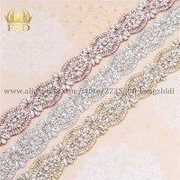 FZD 1 Yard Flatback Crystal Bridal Applique with Rhinestones Sewing On Clear Rhinestone Decoration Wedding Accessories
