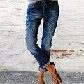 2021 Distressed Jeans Damen Dünne Mid Taille Denim Stretch Taste Engen Hosen Kalb Länge Blume Gedruckt Hosen Plus Größe 4XL