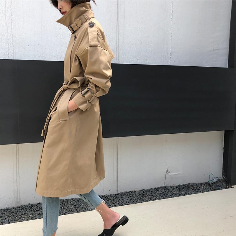 2019 Fashion Khaki   Trench   Coat Women Casual Belt Windbreaker Female Office Lady Feminino Elegant Oversized Outerwear