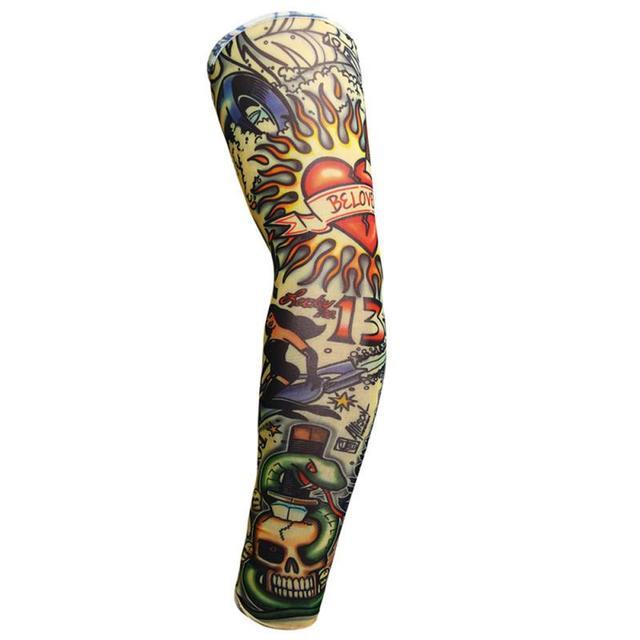 Tatuagem 3d impresso luvas de ciclismo ao ar livre braço warmer proteção uv mtb bicicleta mangas braço proteção sem mangas 6
