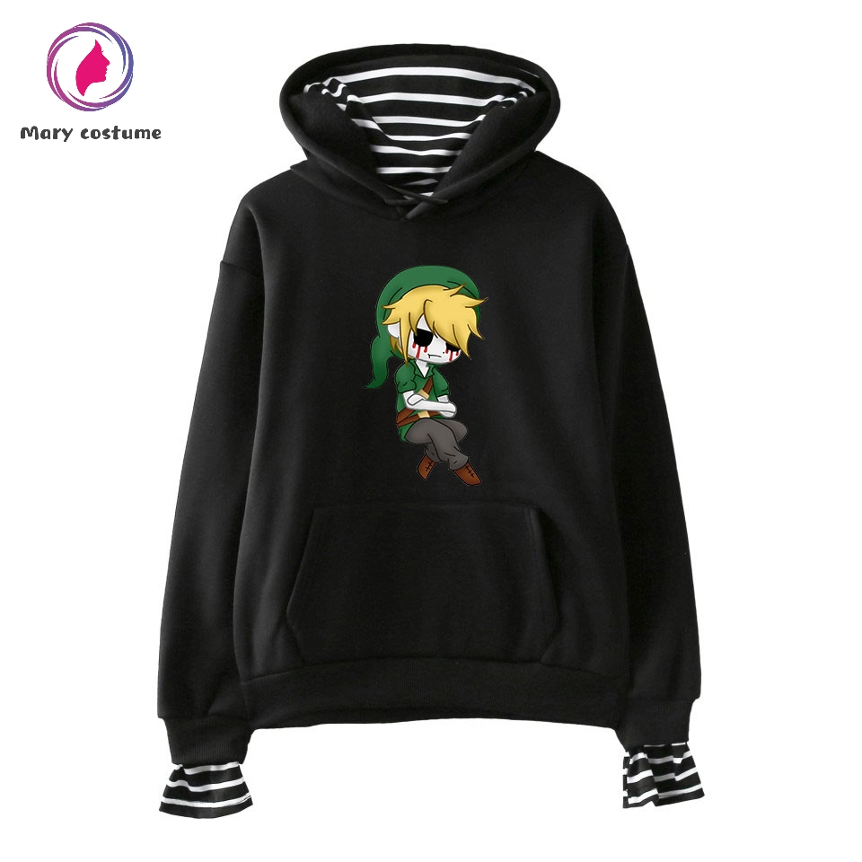 Creepypasta Style Fake Two Cotton Hoodies Men Fashion Kpop Hoodies Sweatshirt 2019 Trend Street Casual Wear Sweatshirt