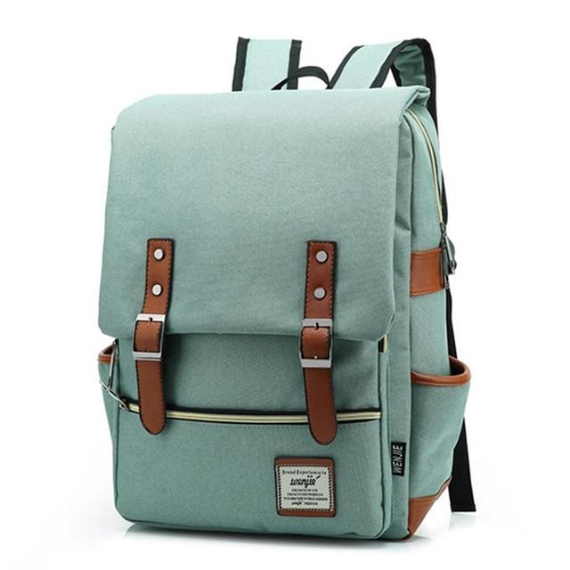 Vintage Fashion Women Backpack Large Canvas Backpacks Mens Laptop Travel School Business Teenage Girls Square Satchel Bookbag