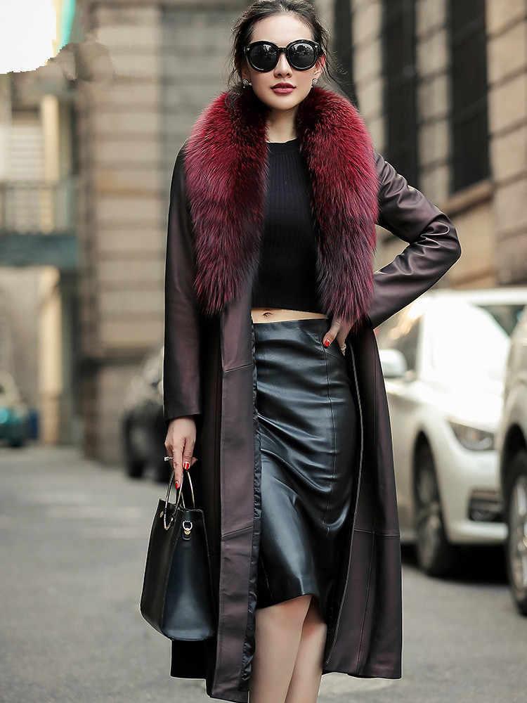 Kurtka skórzana prawdziwa kurtka zimowa kobiety kołnierz z prawdziwego futra lisów kurtka z owczej skóry kobieta Streetwear długa wiatrówka XS19D08-25