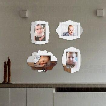Marco de fotos 4 Uds., fotos de bebés, conjunto de marcos de espejo finos de pared magnética, Color dorado y plateado, creativo 3x3 pulgadas 4x6 pulgadas 5x7 pulgadas F004