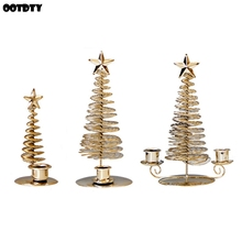 Candlestick Ornaments Center Wire-Stand Tabletop Home-Decoration Metal Christmas-Tree