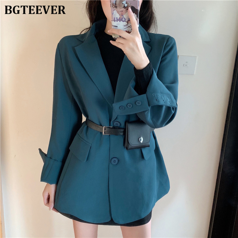 Fashion Single-breasted Women Blazer Notched Collar Female Suit Jackets 2019 Full Sleeve Women Outerwear Coat Loose Ladies Blaze
