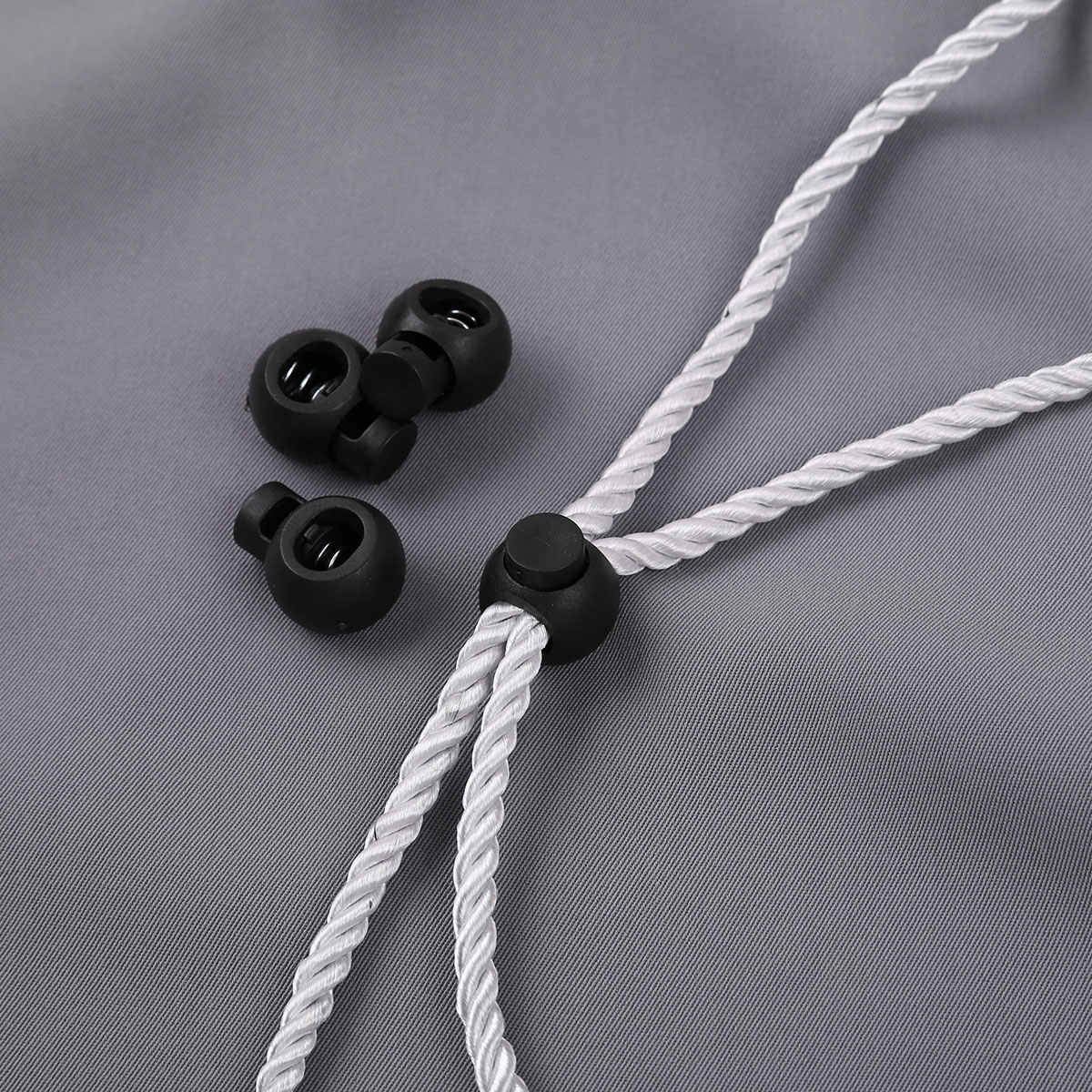 Shensee Plastic Toggle Single Hole Spring Loaded Elastic Drawstring Rope Cord Locks Clip Luggage Lanyard Stopper Sliding Fastener Buttons 25pcs