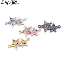 Pipitree Fashion Costume jewelry Findings Double Star Charms fit Bracelet Necklace Copper CZ Zircon DIY Charm Connector Making(China)