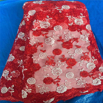 2020 Nigeria High Quality Wedding Lace Lace Red African Lace Fabric Bride Tulle French Lace Fabric Women's Dresses