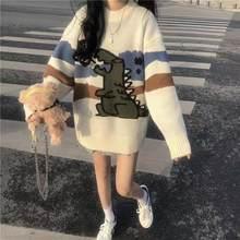 Camisola de tricô feminino dos desenhos animados impresso bonito estilo japonês quente macio diário streetwear casual confortável simples das mulheres pulôver
