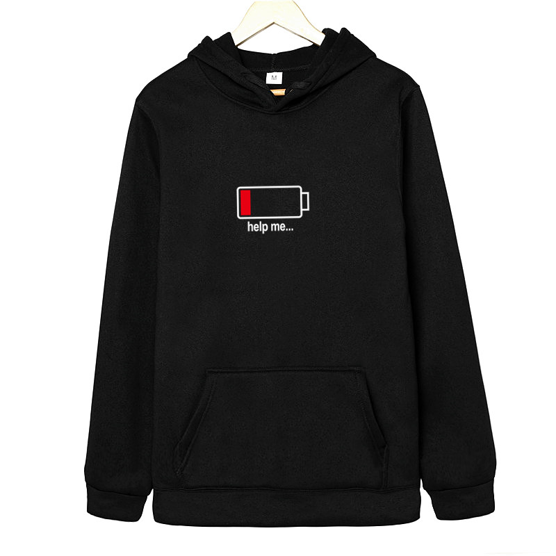 New Fashion Funny Battery Clothes Dad Mom Boy Girl Printing Hooded Pullover Male/female Autumn Hood Hoddie Sweatshirts Love