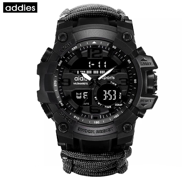 AIDIS Survive Outdoor Watch Emergency with Night Vision 30M Waterproof Paracord Knife Compass Whistles First Aid Kits G Style