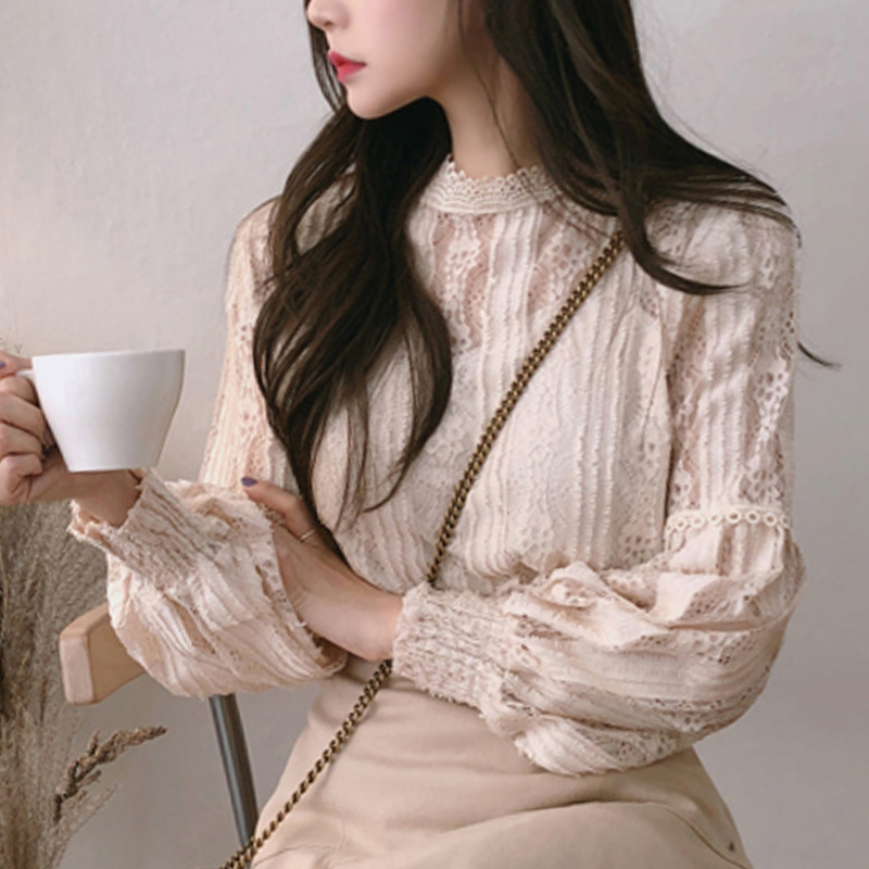 Blusas mujer de moda 2019 ladies tops long sleeve lace   blouse     shirts   for women tops Spliced Solid Stand women tops pink 6899 50