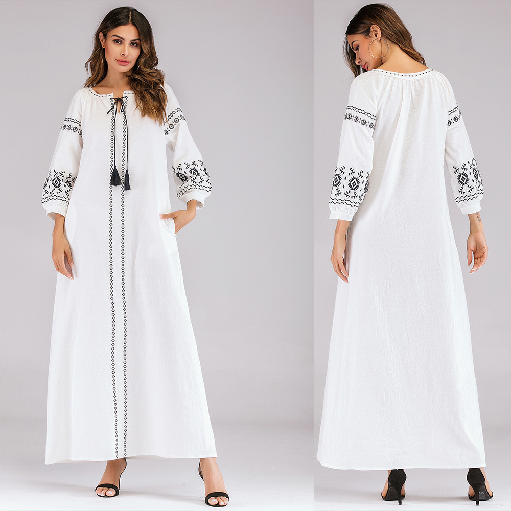 European And American Style Ethnic Embroidery Dress ARAB WOMEN'S Dress Robes Holiday Dress 7016 # White