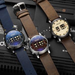 Image 3 - MEGIR dijital saat adam lüks üst marka kuvars saatler erkek deri Relogio Masculino 2019 yeni ordu davul rulo kol saati 2137