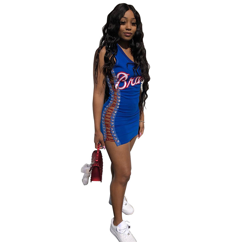 women new sexy bodycon dress summer sleeveless lace up letter print sexy short mini dress female casual dress DHR8009 7