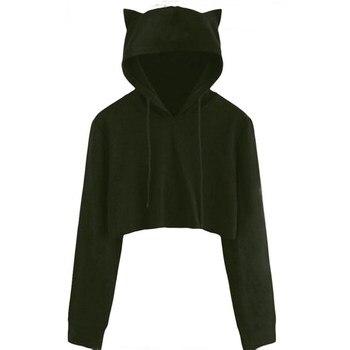 Teen Girls Cute Cat Ear Breathable Trim Sweatshirt Crop Top Long Sleeve Pullover Hoodies Loose Pullover Moletom