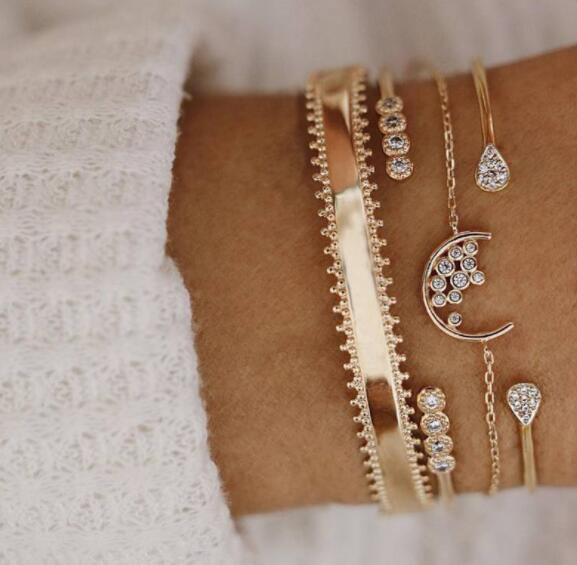 2020 New Trendy Rose Gold Color Water Droplets Moon Opening Bracelet Bangle For Women Party Gift Jewelry Bulk Sell Moonso S5739