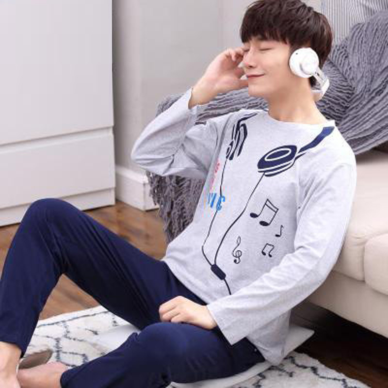 Gray Men Pajamas Set Knited Keep Warm Clothing Sleep Clothes Long Sleeve Sleepwear For Male Undershirts In Autumn Winter