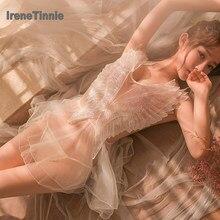 Irene tinnie lingerie sensual de v profundo, transparente, de renda, fio dental, conjuntos de mini camisola, vazado