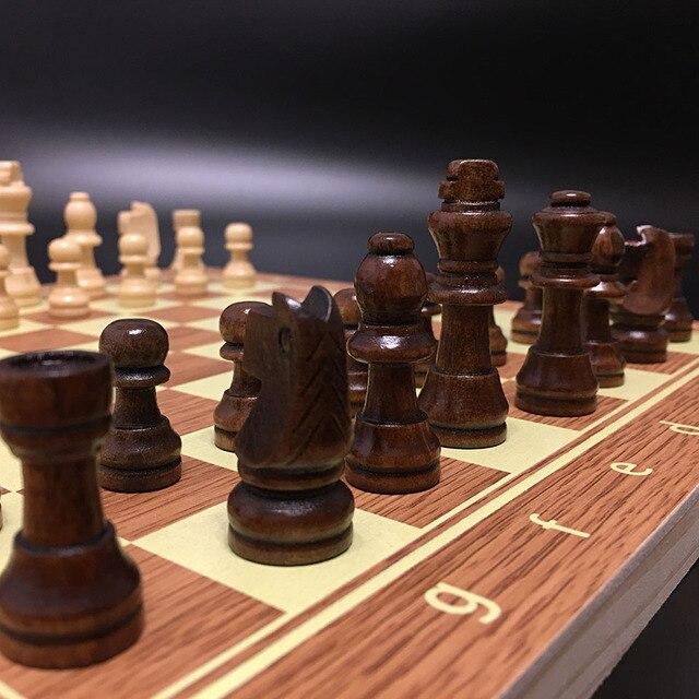 Jeu d'échecs en bois Backgammon dames 3 en 1 jeu d'échecs de voyage pièces d'échecs en bois et planche pour enfants adulte 4