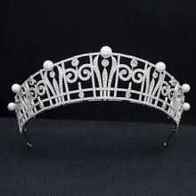 CZ Cubic Zirconia Royal Replica Pearls Tiara for Wedding,Crystal Princess Tiaras Diadem for Girl,Prom,Party Head Jewelry CH10390